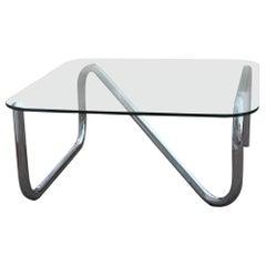 Square Articulated Tubular Steel Italian Design Pop Art 1970 Top Glass Silver