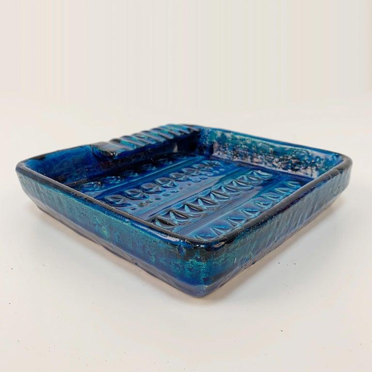 Italian Square Ashtray in Blue Glazed Ceramic Rimini, Bitossi by Aldo Londi, Italy 1960s For Sale
