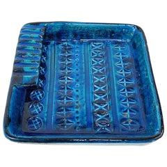 Square Ashtray in Blue Glazed Ceramic Rimini, Bitossi by Aldo Londi, Italy 1960s