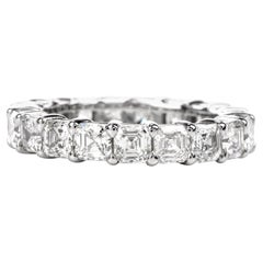 Square Asscher Diamond Platinum Eternity Ring
