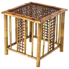 Square Bamboo Occasional Side End Table