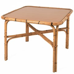 Square Bamboo Table, Ant Laminate Top, Italy, 1960s