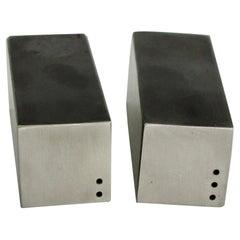 Square Base Skyscraper Modernist Stainless Steel Salt Pepper Shakers