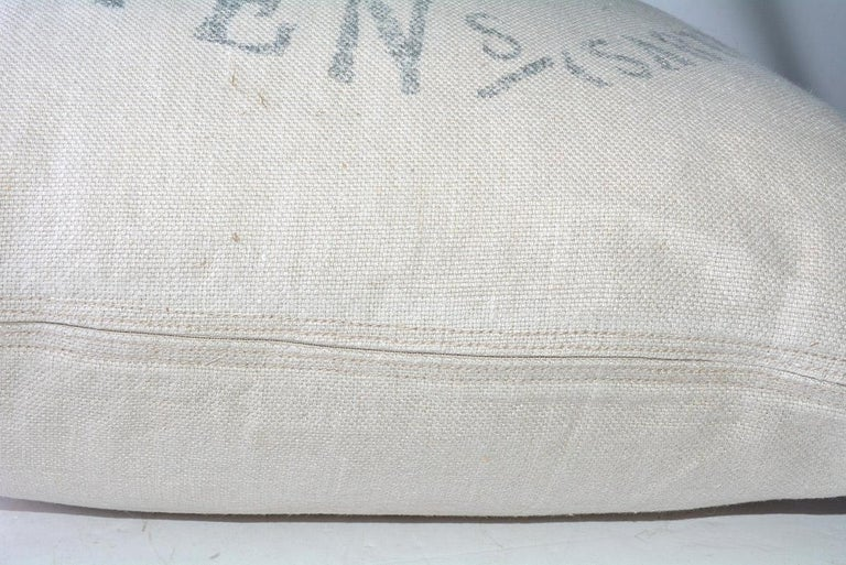 Square Beige Linen French Pillow For Sale 1