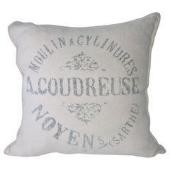 Square Beige Linen French Pillow