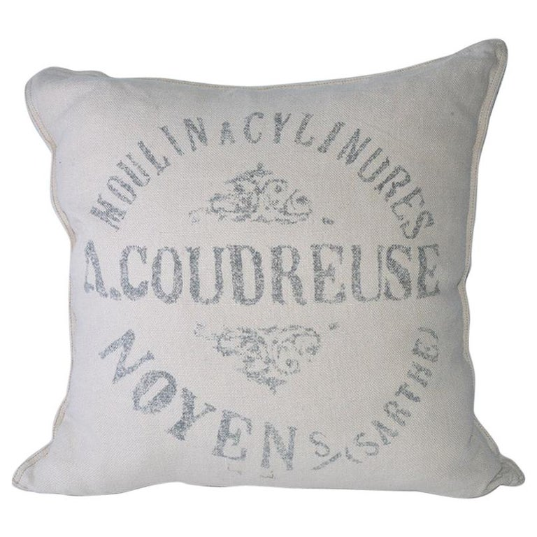 Square Beige Linen French Pillow For Sale