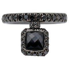 Square Black Diamond Ring from d'Avossa Starry Night Collection