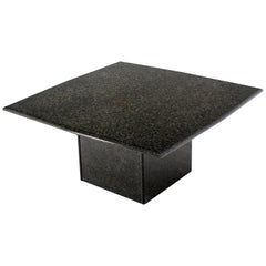 Square Black Granite Pedestal Base Coffee Table