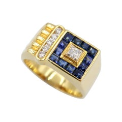 Square Blue Sapphire Diamond Channel-Set Fluted 18k Yellow Gold Men's Ring