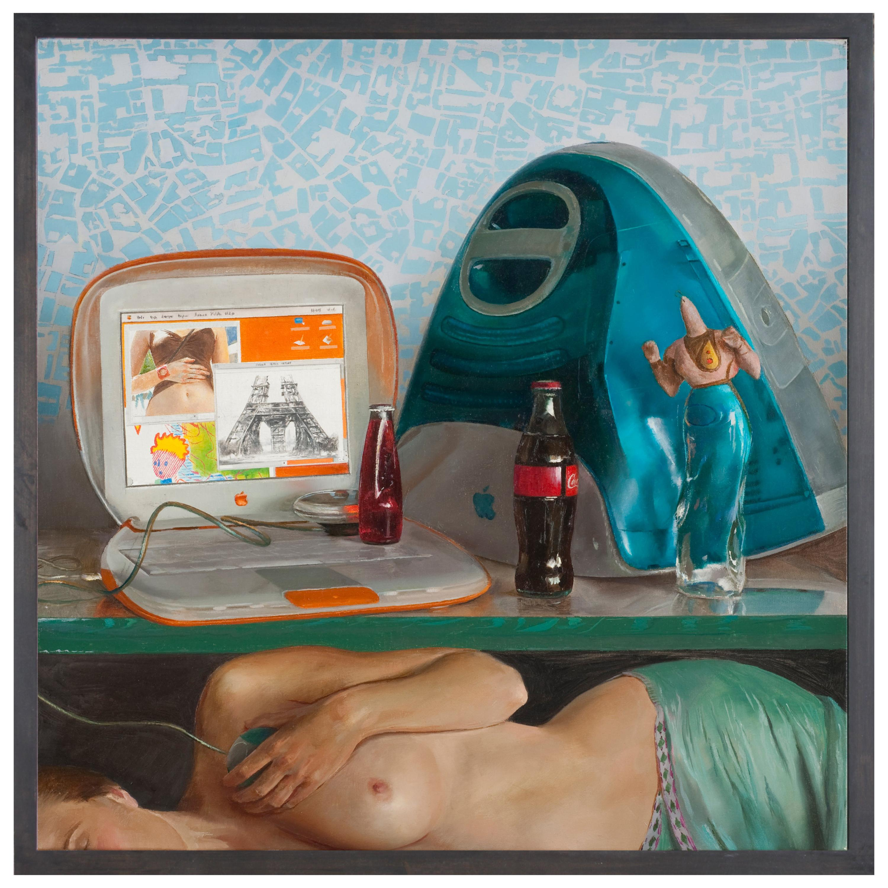 Square Blue Still Life with Nude, Original Oil Painting, Mixed Objects and Nude