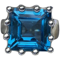 Square Blue Topaz Crown Ring