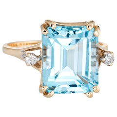 Square Blue Topaz Diamond Ring Vintage 14 Karat Gold Estate Cocktail Jewelry