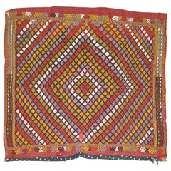 Square Boho Geometric Colorful Jajim Flat-Weave, 20th Century