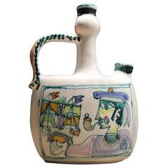 Square Bottle Vase Giovanni De Simone 1970s Italian Pottery Picasso Style