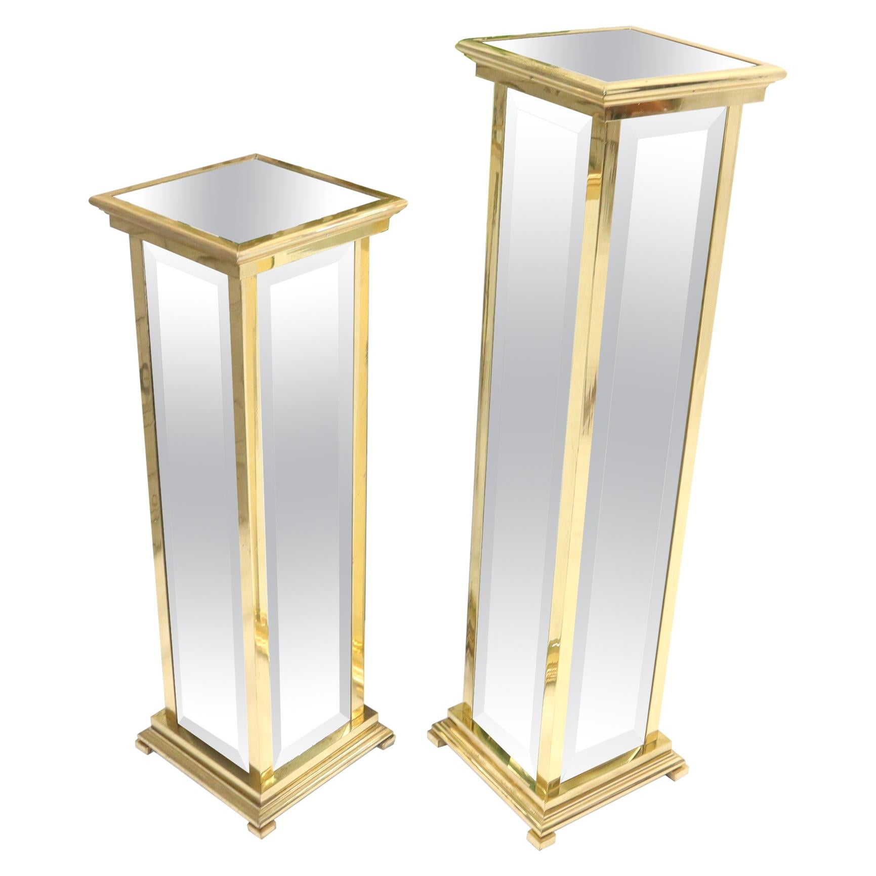 Square Brass and Mirror Panels Pedestals Stands