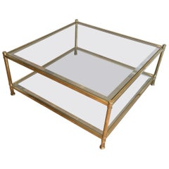 Square Brass Coffee Table, French, circa 1970