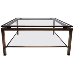 Square Brass Coffee Table with Two Glass Shelves by Maison Jansen, 1970s