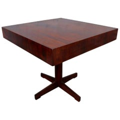 Square Brazilian Jacaranda Wood 1960s Side Table