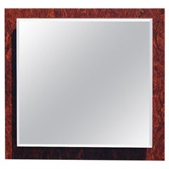 Square Briar Wall Mirror by Walnut Italian Design, 1970