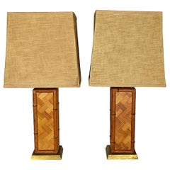 Square Brown Bamboo Lamps with Shades by Westwood Industries, 1970s a Pair
