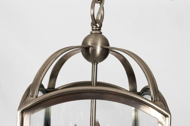 Square Brushed Metal Exterior Lantern For Sale 1