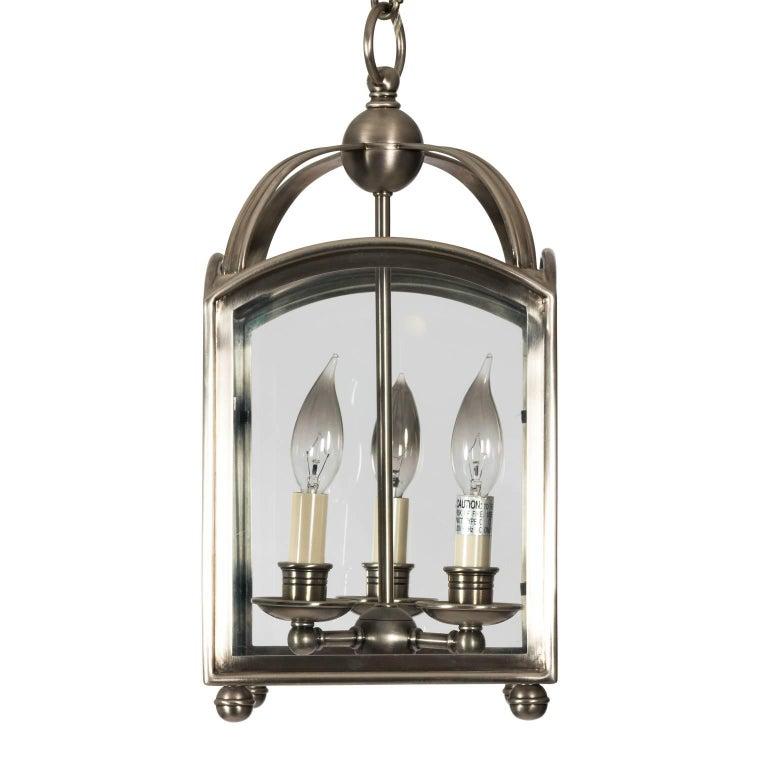 Square Brushed Metal Exterior Lantern For Sale