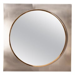 Square Brushed Steel and Brass Mirror, 1970s