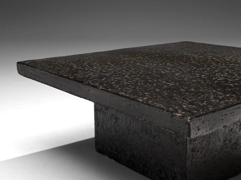 European Square Brutalist Coffee Table with Stone Look For Sale