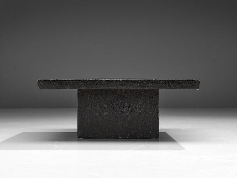 Square Brutalist Coffee Table with Stone Look In Good Condition For Sale In Waalwijk, NL
