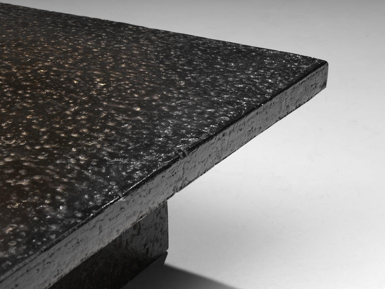Late 20th Century Square Brutalist Coffee Table with Stone Look For Sale