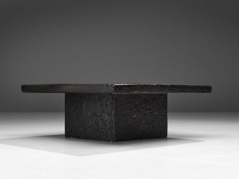 Resin Square Brutalist Coffee Table with Stone Look For Sale