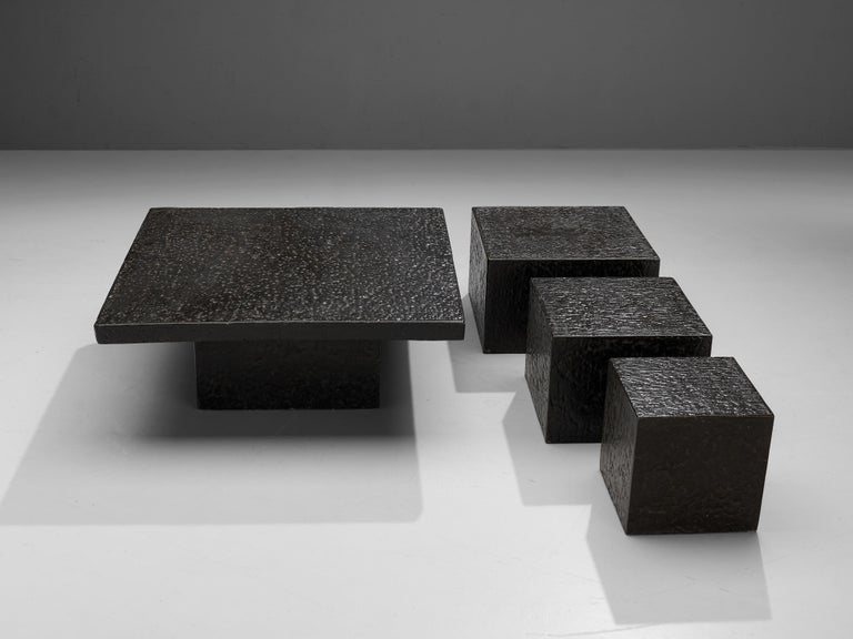 Square Brutalist Coffee Table with Stone Look For Sale 1