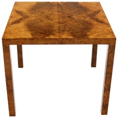 Square Burl Wood Game Center Table by Milo Baughman for Directional