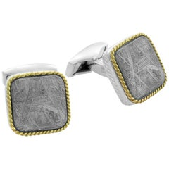 Square Cable Meteorite Cufflinks in Silver with 18 Karat Gold 'Limited Edition'