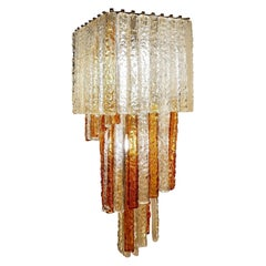 Square Cascading Murano Glass Chandelier by Venini