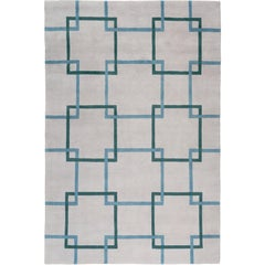 Square Chain Teal Hand-Knotted 10x8 Rug in Wool by The Rug Company