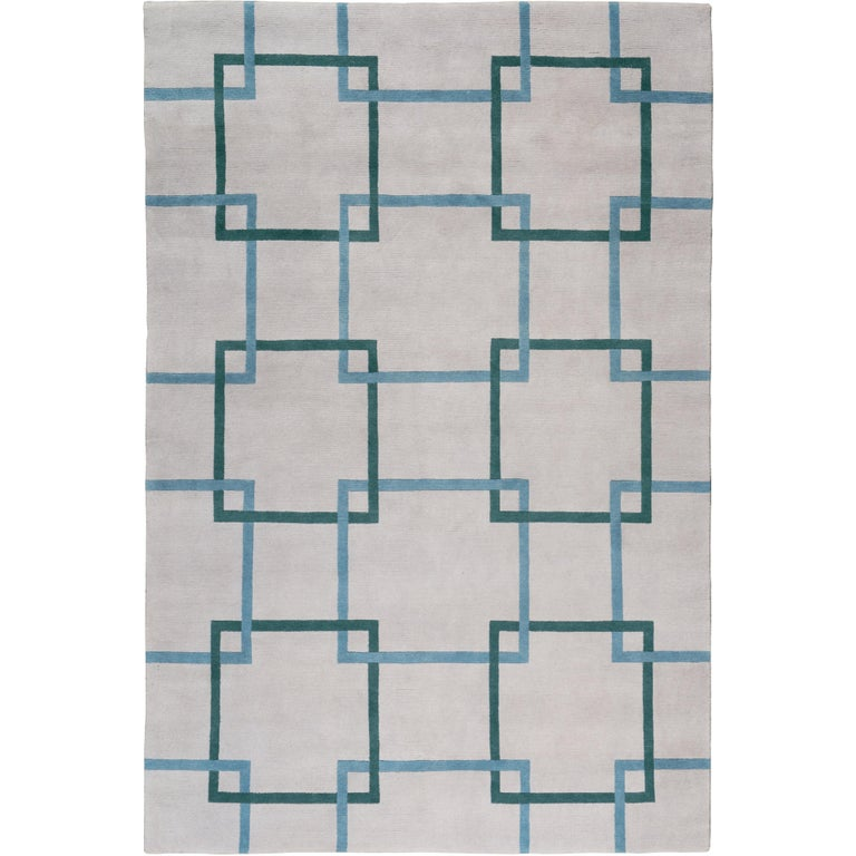 Square Chain Teal Hand-Knotted 10x8 Rug in Wool by The Rug Company For Sale