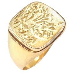 Square Chinoiserie Engraving 14 Karat Gold Signet Men's Ring