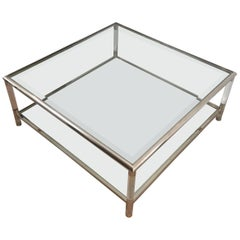 Square Chrome and Lucite Coffee Table, French, circa 1970