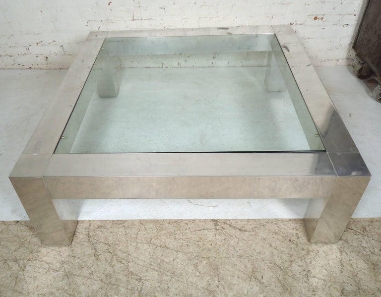 Mid-Century Modern Square Chrome Glass Coffee Table in the Style of Paul Evans For Sale