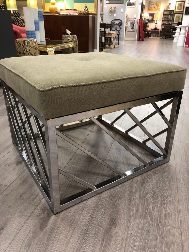 Square chrome midcentury bench with newly upholstered top. Would make great coffee table with tray added on top.