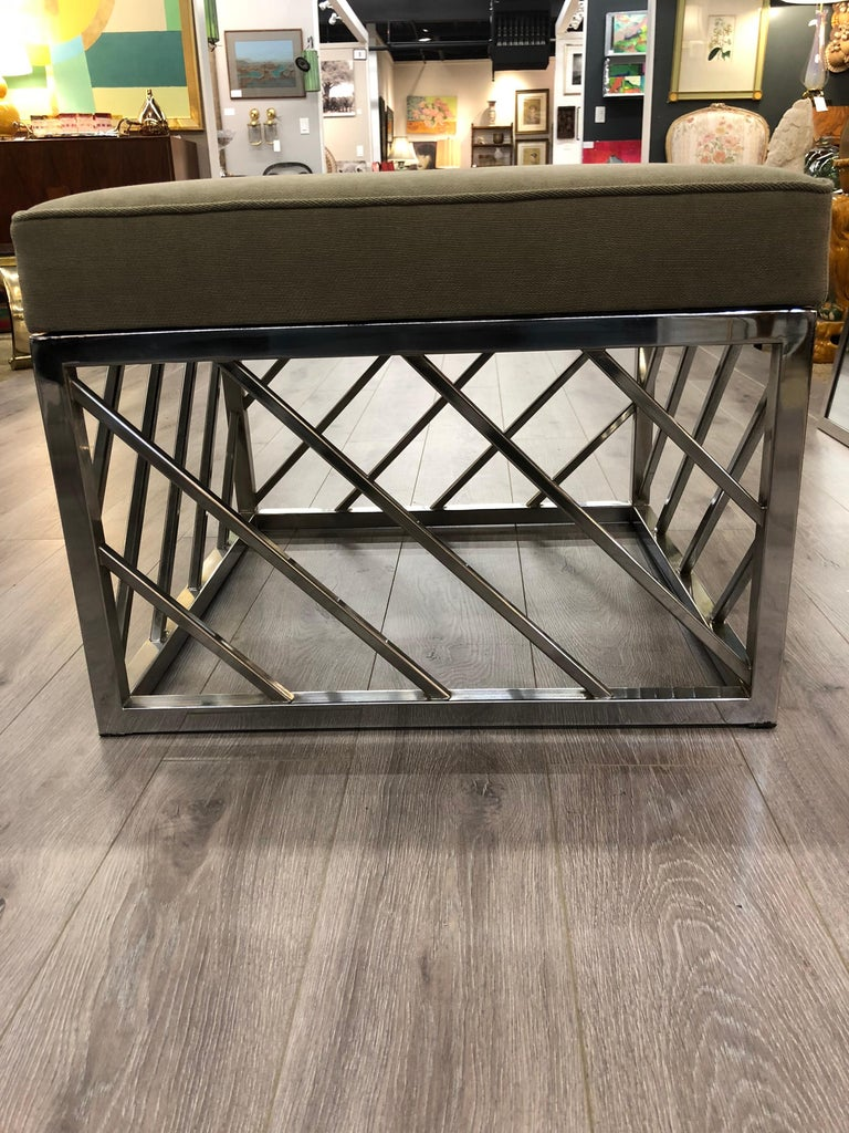 Late 20th Century Square Chrome Midcentury Bench For Sale