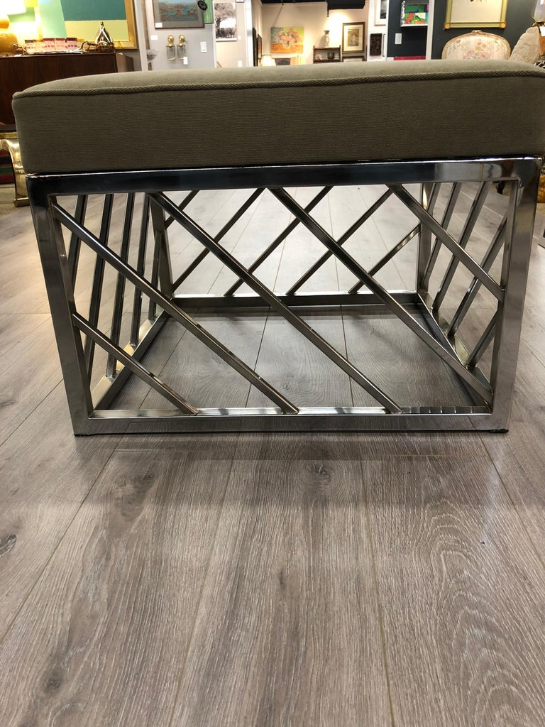 Square Chrome Midcentury Bench For Sale 1