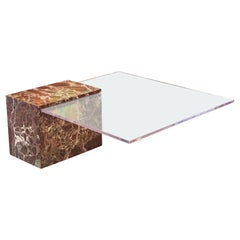 Square Clear Floating Lucite and Red and White Marble Italian Coffee Table