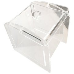 Square Clear Lucite Barware Ice Bucket with Lucite Lid and Lucite Handle