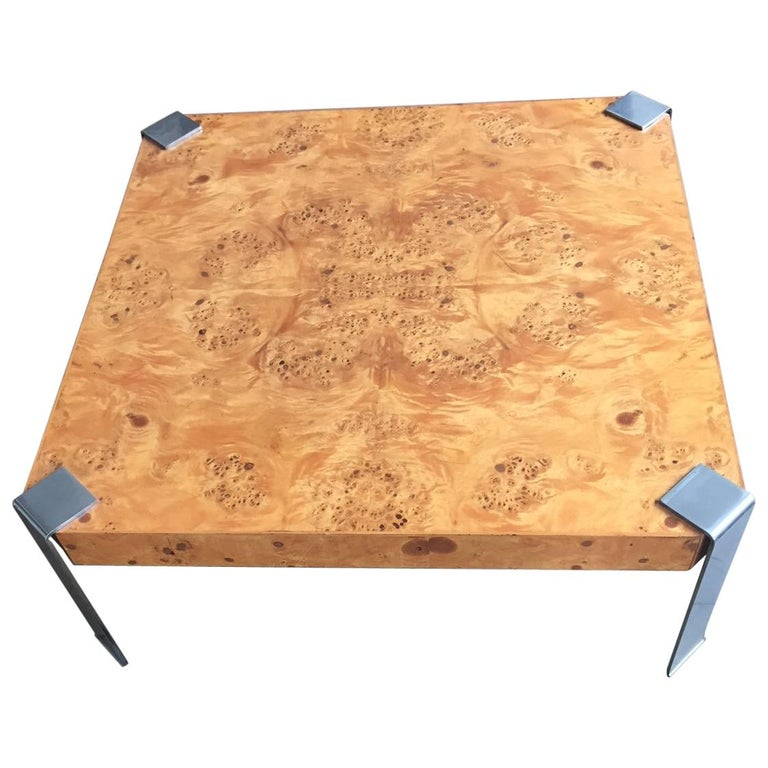 Square Coffee Table Burl Olive Wood In The Style Of Milo Baughman