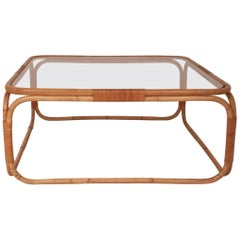 Square Coffee Table Designed by Miguel Milá in Bamboo and Glass, 1970s