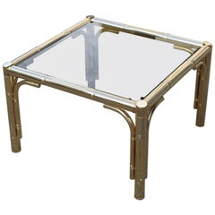 Square Coffee Table in 24-Karat Gold Metal Italian Design 1970 Bamboo Cane