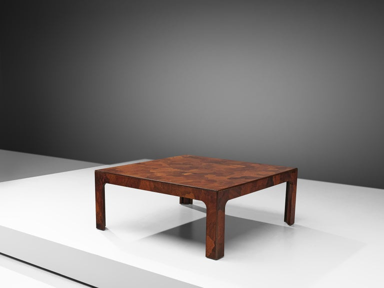 Coffee table, American walnut, United States, 1960s  Well-designed rectangular coffee table inlayed with organic shaped pieces of American walnut that show a variety of tones. Also the four legs feature the same admirable surface design.