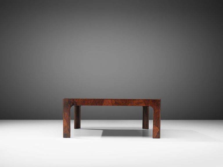 Square Coffee Table in American Walnut with Inlayed Top For Sale 1